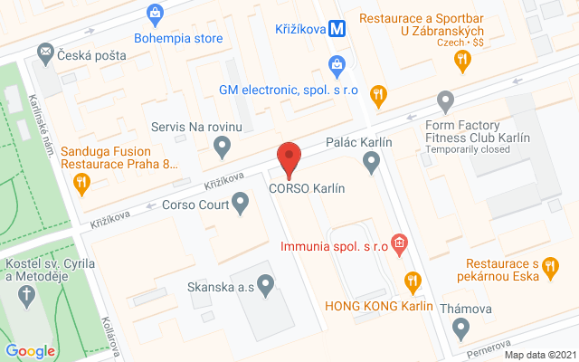 Google map: Křižíkova 237/36A